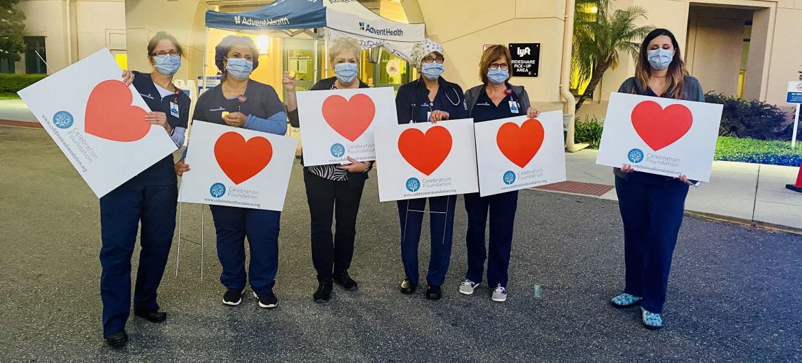 AdventHealth Medical staff with heart signs